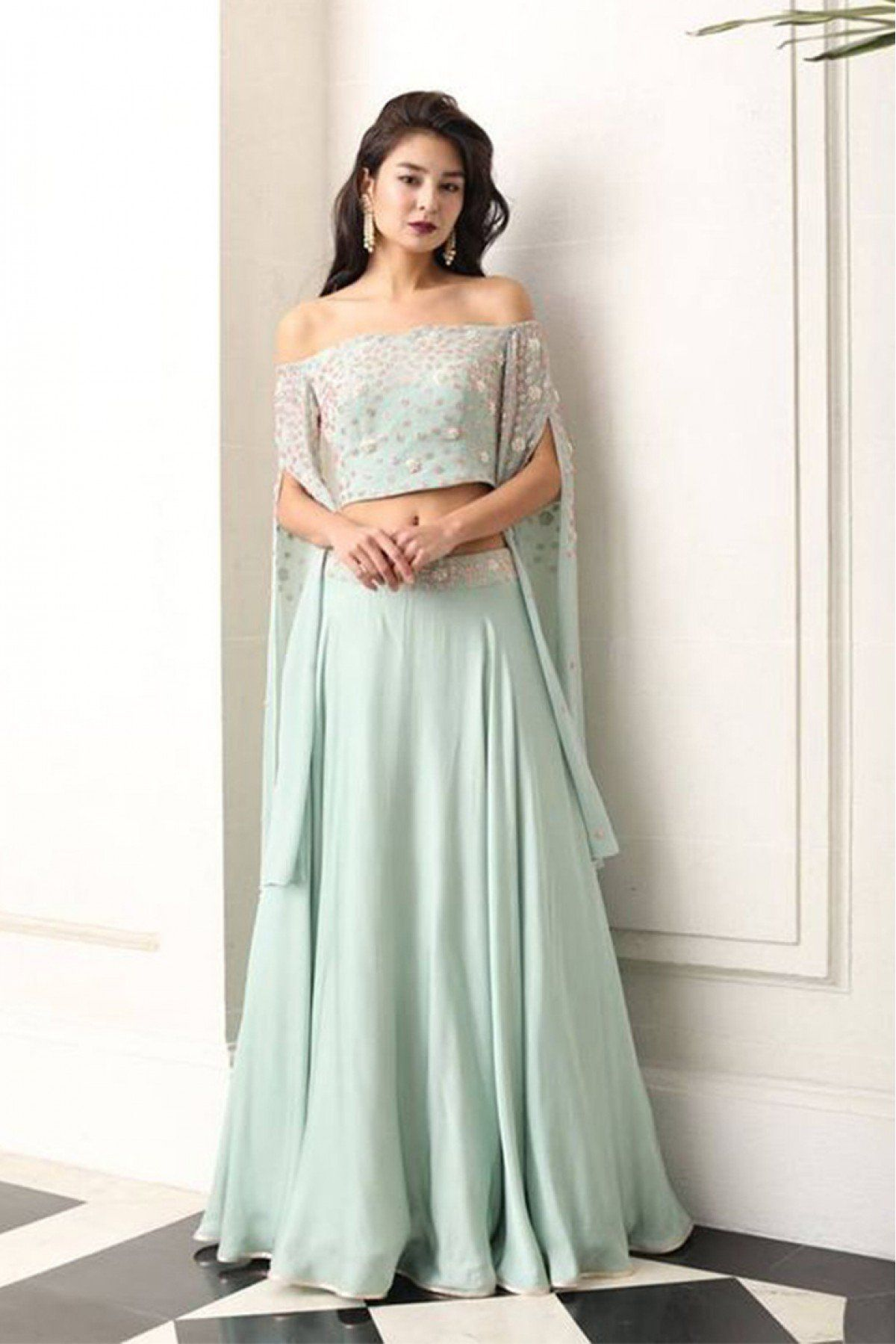 695710315ecdb Youdesign Georgette Skirt Top In Pastel Green Colour Size Upto 66 in ...