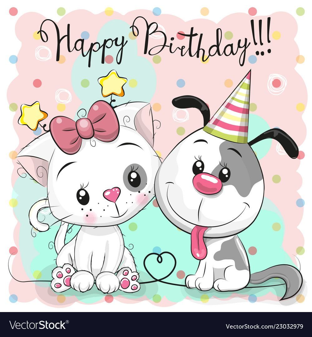 Greeting Birthday Card With Cute Cat And Dog Vector Image On With