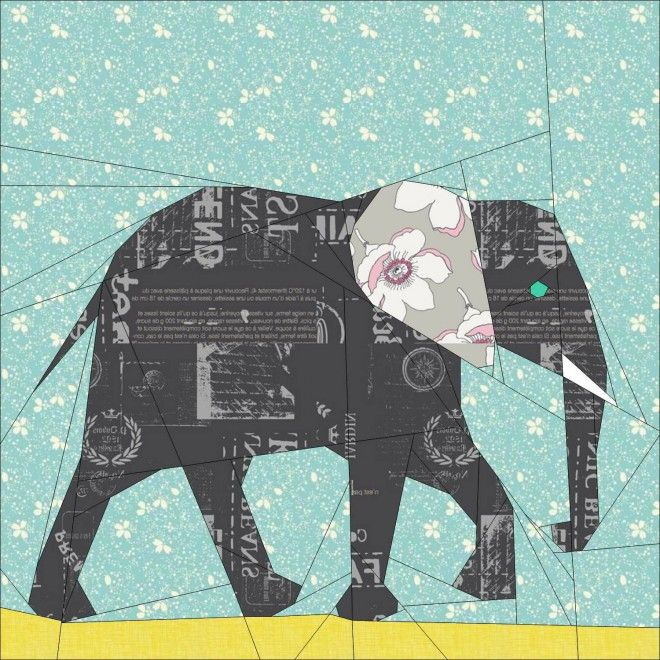 """Elephant- 12"""" & 24"""" Paper Pieced Pattern - the first of many elephants for same by the Tartan Kiwi.  lots more paper patterns at https://www.pinterest.com/yrauntruth/quilt-paper-piecing-foundation-piecing/"""