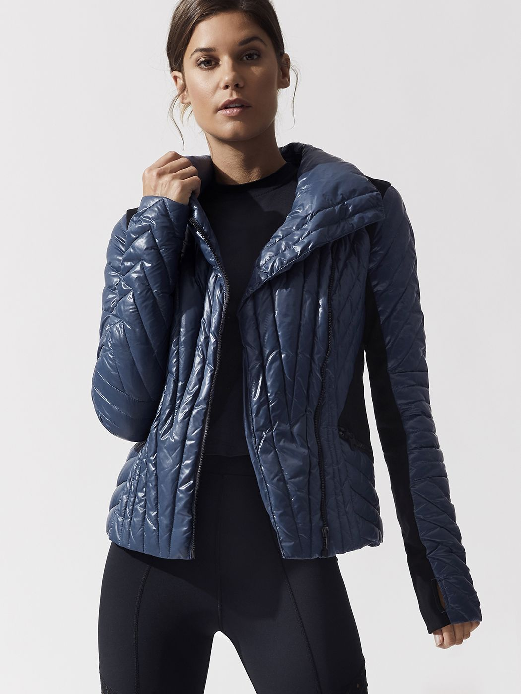 Motion Panel Puffer Jacket In Navy By Blanc Noir From Carbon38 Womens Activewear Jackets Puffer Jackets [ 1400 x 1050 Pixel ]