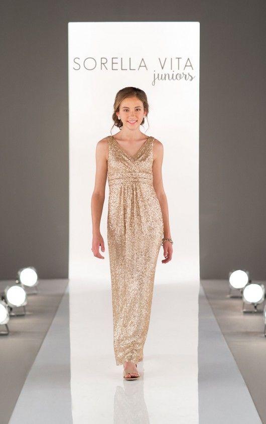 f4ef9b923c4 Gold Sorell vita J4012 sequin Junior bridesmaid dress - matches 8686