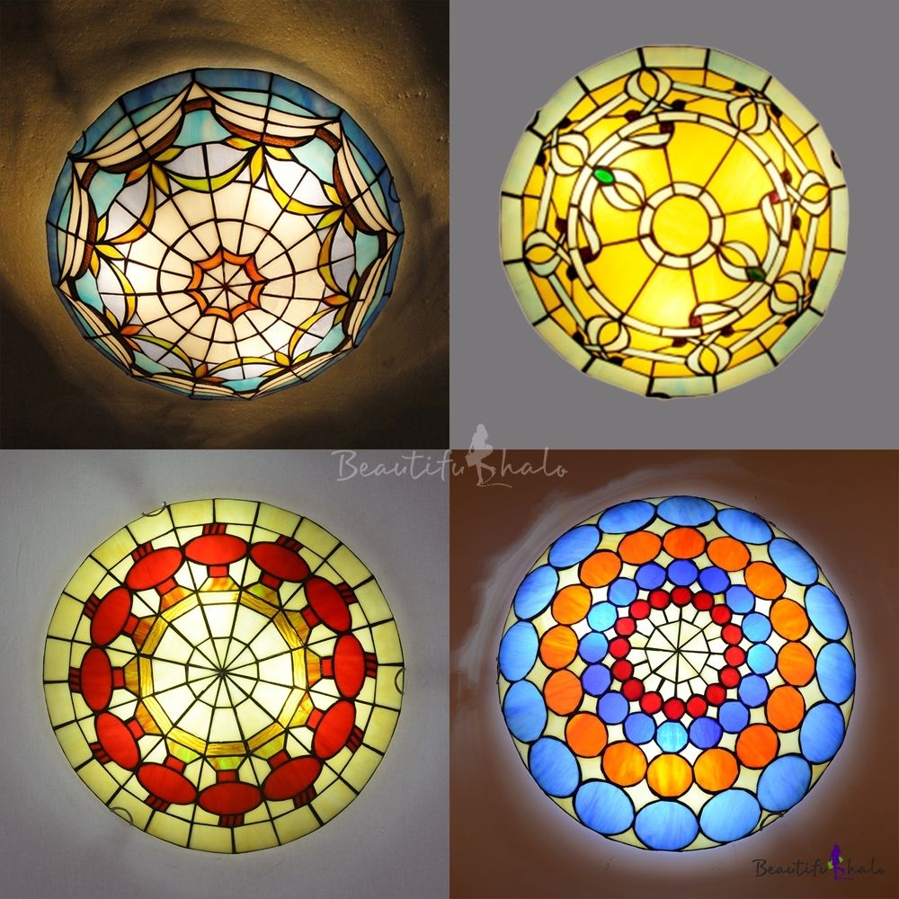 Tiffany Traditional Ceiling Mount Light Bowl Shade Stained Glass Flush Ceiling Light For Living Room In 2020 Ceiling Lights Flush Ceiling Lights Tiffany Ceiling Lights