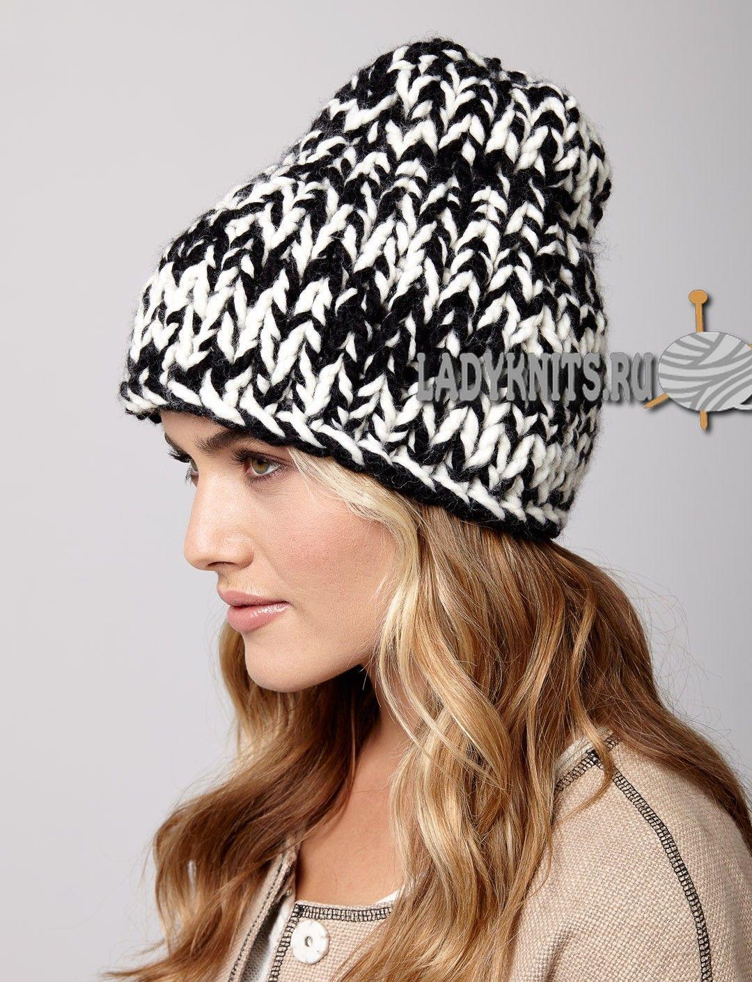 женская шапочка спицами нитки средней толщины схема