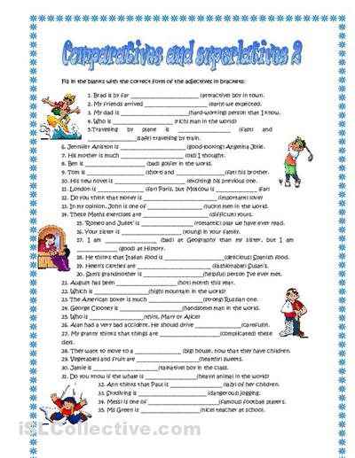 Comparative and superlative worksheets esl