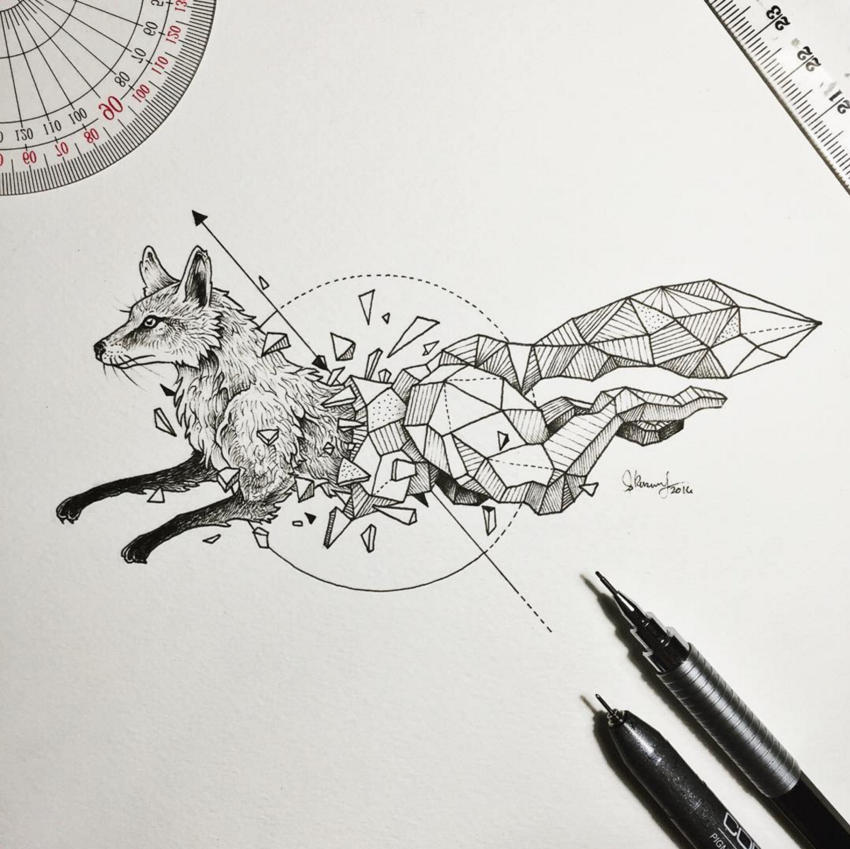 awesome intricate drawings fuse animals and geometric shapes | idk