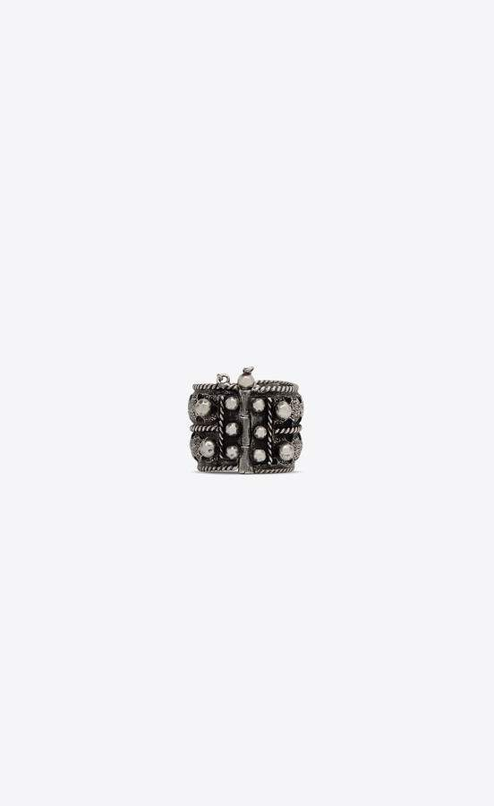 d9e4d05da0f Saint Laurent Marrakech Berber Ring In Tin And Silver-Toned Brass ...