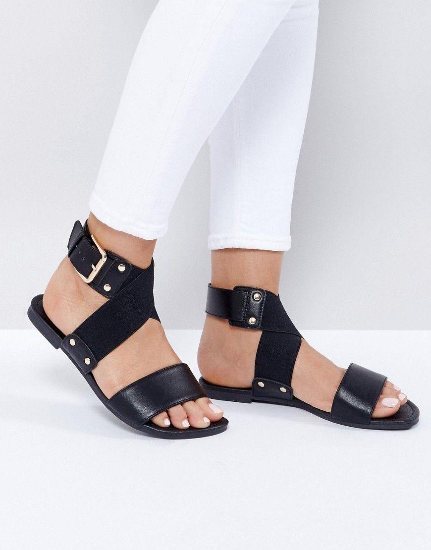 f9e40c161fb2 NEW LOOK STUD DETAIL FLAT SANDAL - BLACK.  newlook  shoes