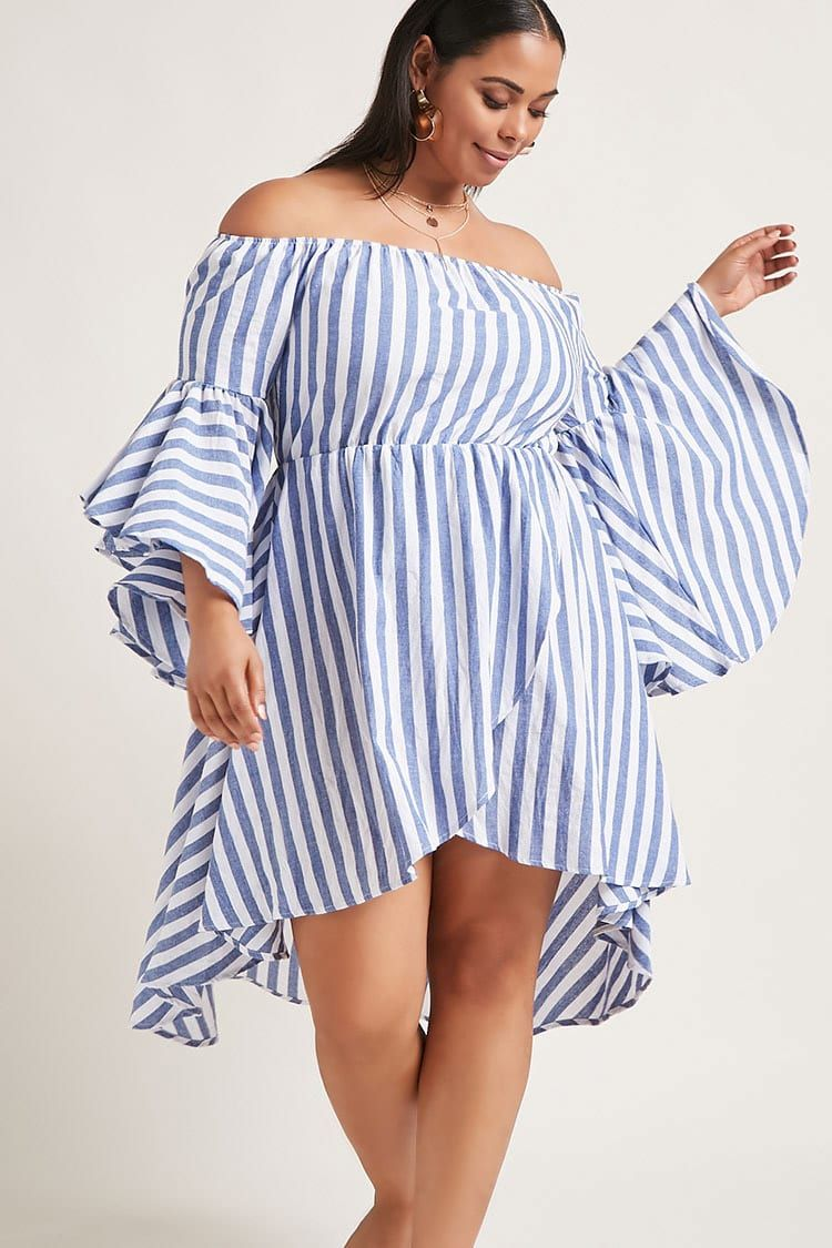 4961be8fa02b Plus Size High-Low Striped Dress with a really cute white pair of strappy  sandals would look fab!