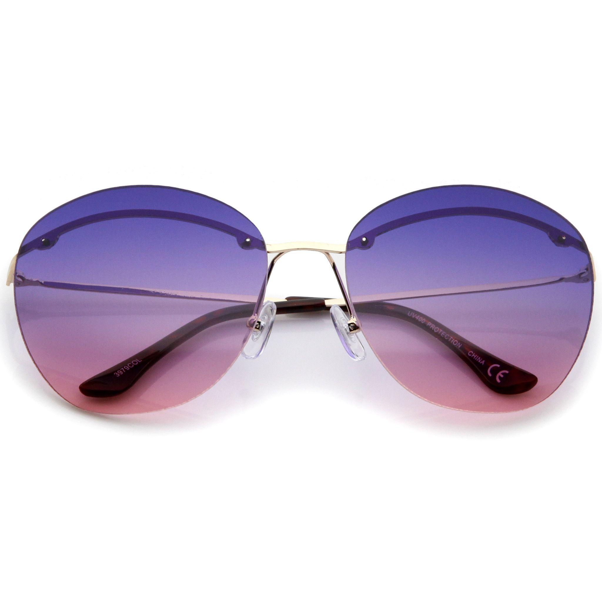 Retro Women's Brow A763 Round Lens Inner Sunglasses Gradient L35R4cAqj