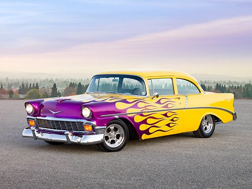 Aut 26 rk2694 01 1956 chevrolet 210 post hot rod yellow purple 1956 chevrolet 210 post hot rod yellow purple flames front view on pavement by hills sciox Choice Image
