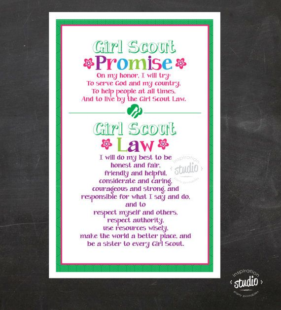 graphic regarding Girl Scout Promise and Law Printable called Woman Scout Guarantee and Regulation Printable POSTER Instantaneous Woman