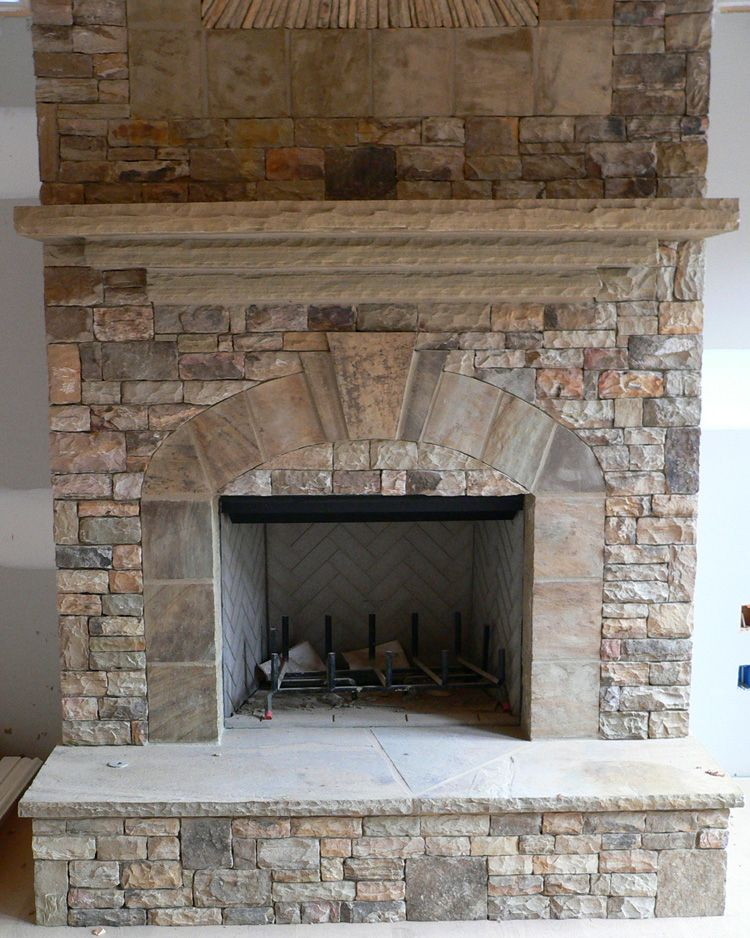 Stacked stone fireplace real stack stone mantles - Stone fireplace surround ideas ...