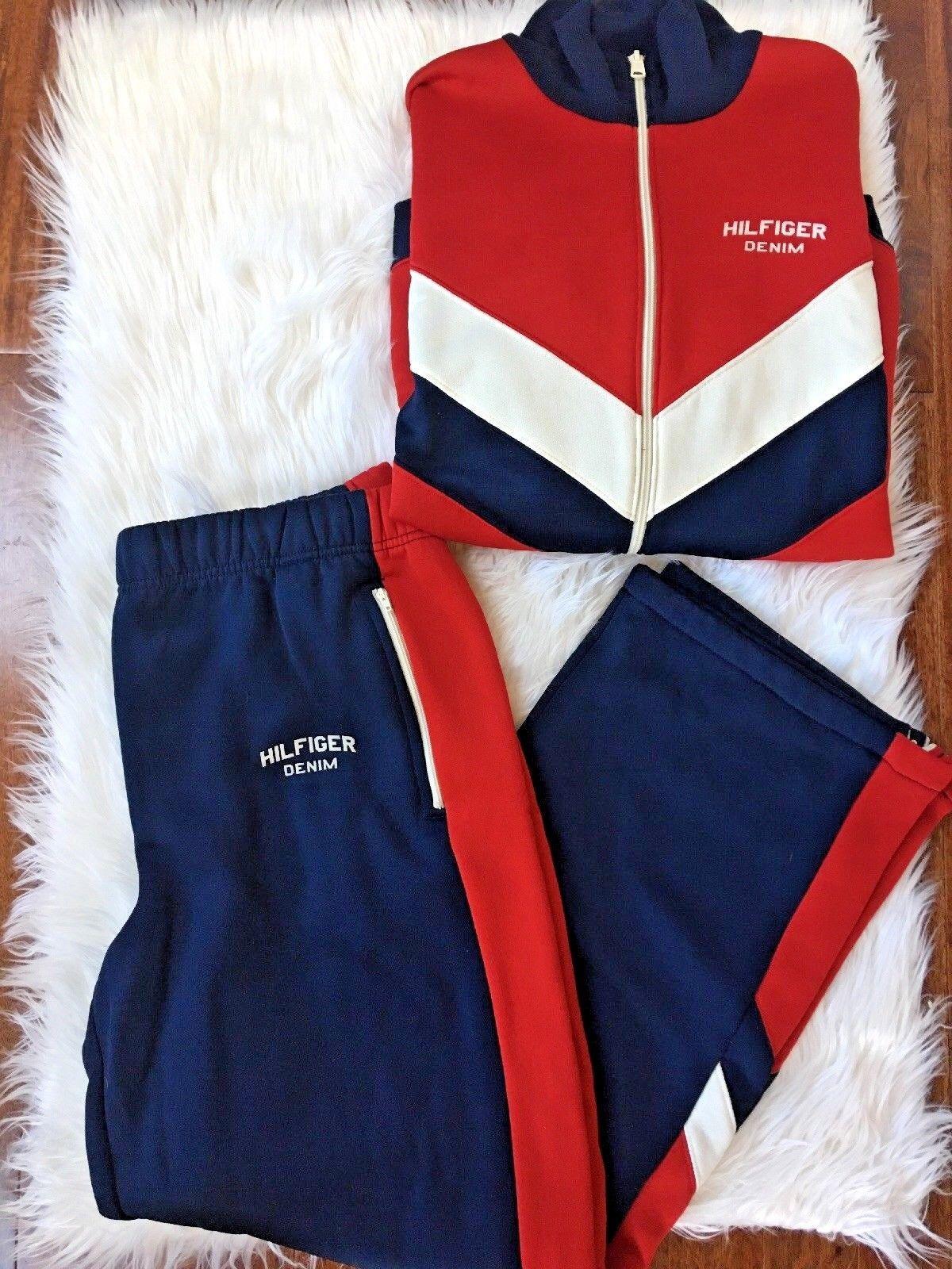 08048afd7804c Vintage Tommy Hilfiger Track Warm Up Sweat Outfit Size Med Jacket Large  Pant red (eBay Link)