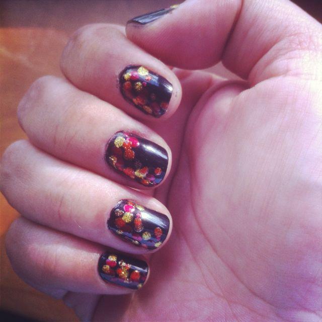 """Tried a dot version of """"girl on fire"""" nail art. #hungergames #girlonfire #nailart #dot"""