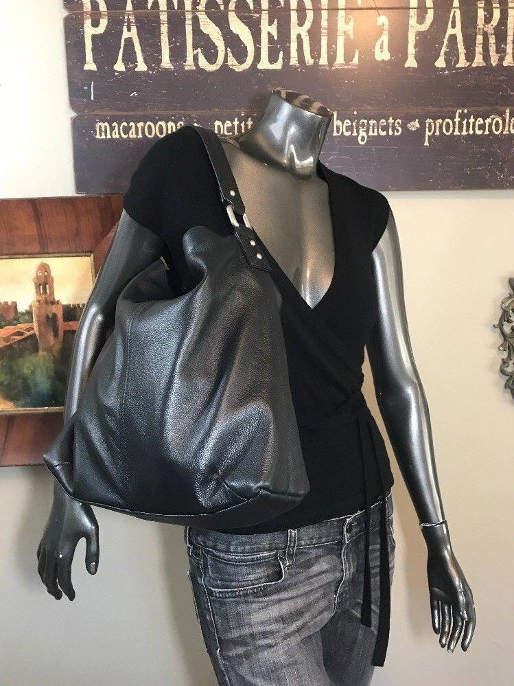 364d0dde2b60d Kooba Black Pebbled Leather Shoulder Hobo Large Handbag Tote Bag ...