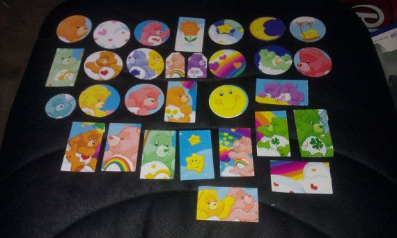 Care Bears scrapbooking die cuts from recycled book by amylaugh, $6.50