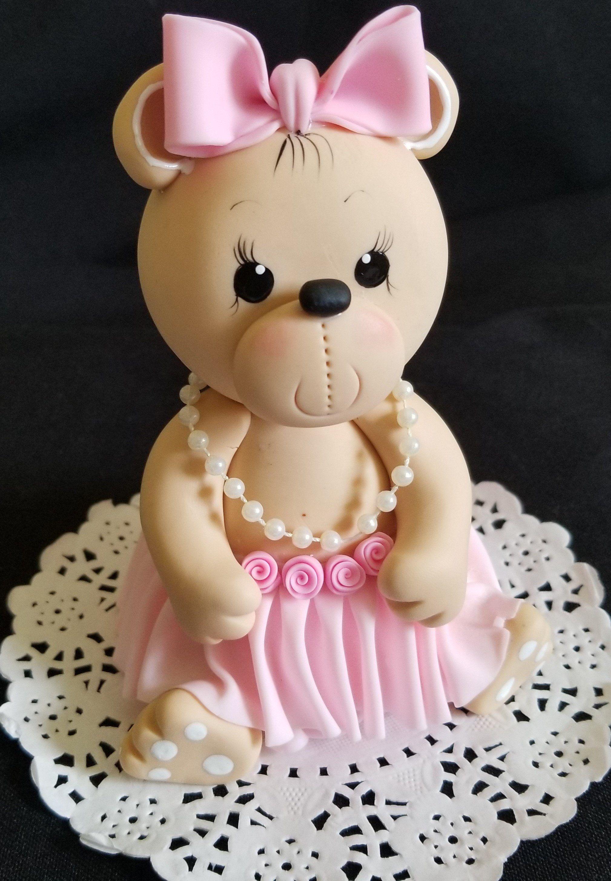 Teddy Bear Cake Topper Pink Teddy Bear Teddy Bear Topper Blue
