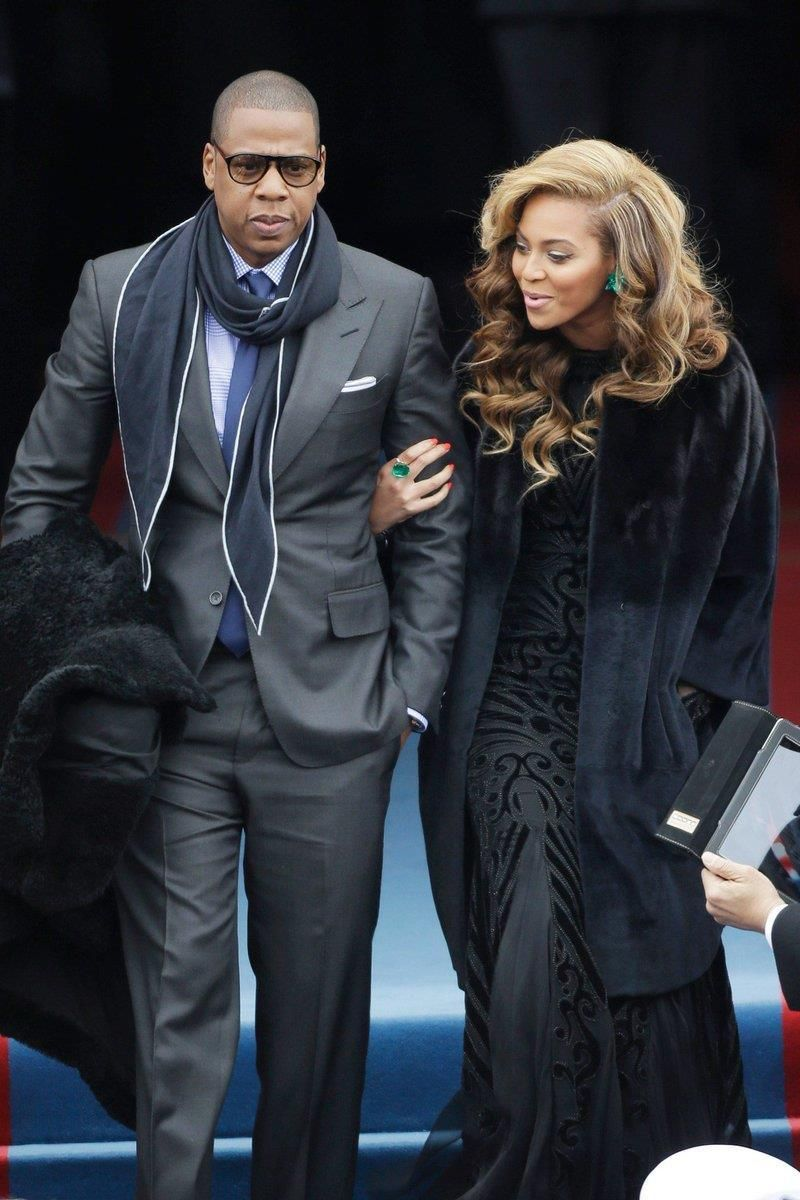 Beyonce coordinates with Jay Z in black at Tom Ford