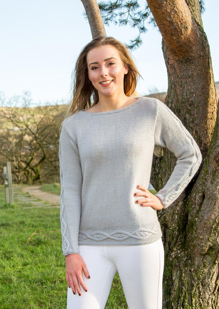 Amy - Ladies DK, Boat Neck, Cable Detailed Sweater