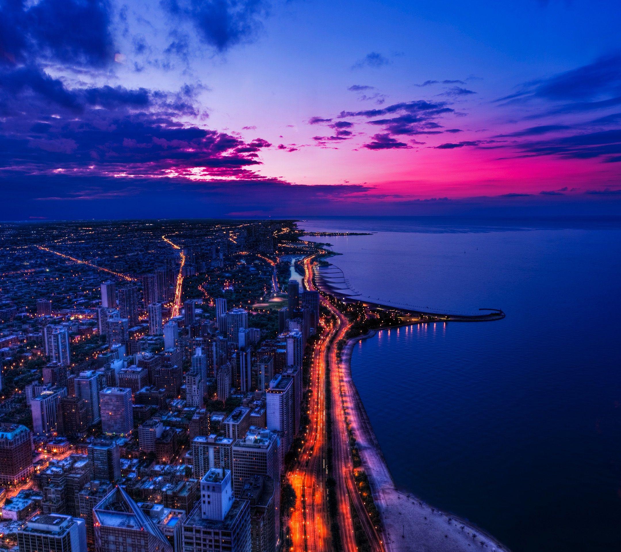 Chicago City Night Sky View