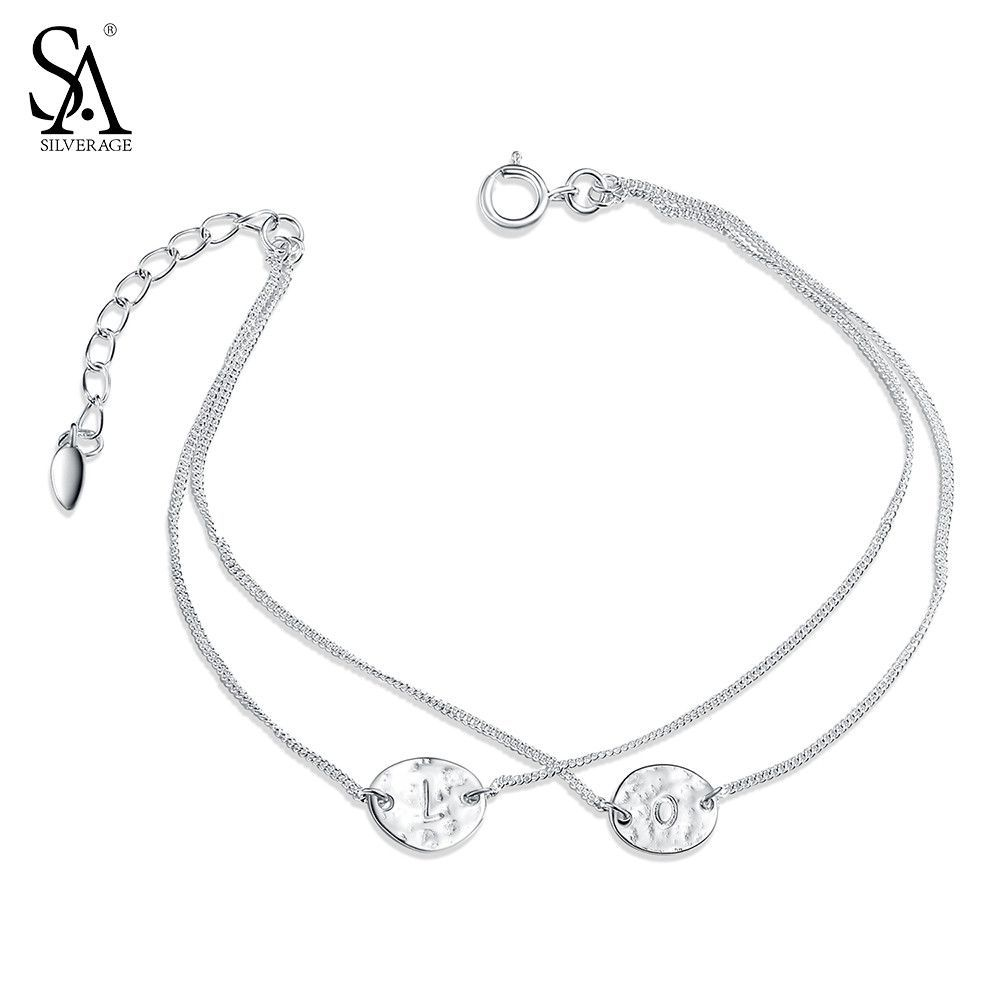 1c417d1c503 SILVERAGE Real 925 Sterling Silver Bracelet Fine Jewelry for Women Two  Layer Engraved LOVE Alphabet 2017 Hot Sale