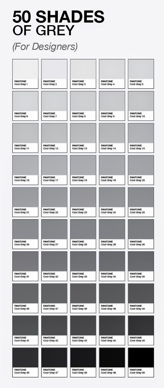 50 Shades Of Grey For Designers By Pantone Grey Colour Chart Grey Paint Shades Of Grey
