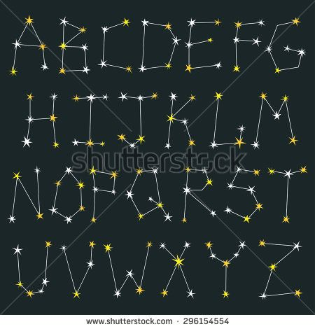 Vector set of letters made from constellations  Stylish abc with