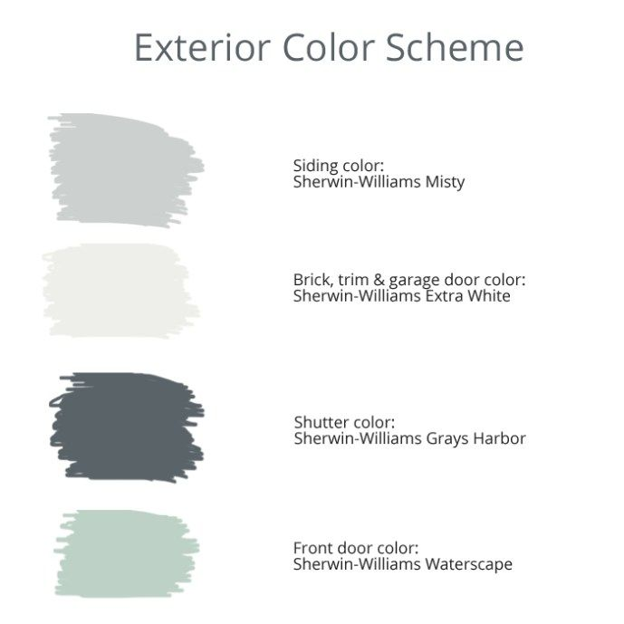 Exterior house color scheme: Sherwin Williams Misty on the siding, Sherwin Williams Extra White on the trim, Sherwin Williams Gray Harbors on the shutters, and Sherwin Williams Waterscape on the front door #greyexteriorhousecolors