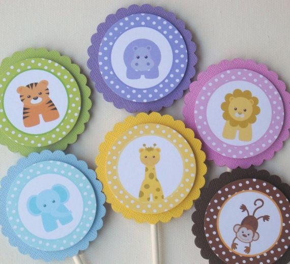 Baby Shower Ideas Zoo Animals ~ Baby jungle or zoo animals cupcake toppers set of