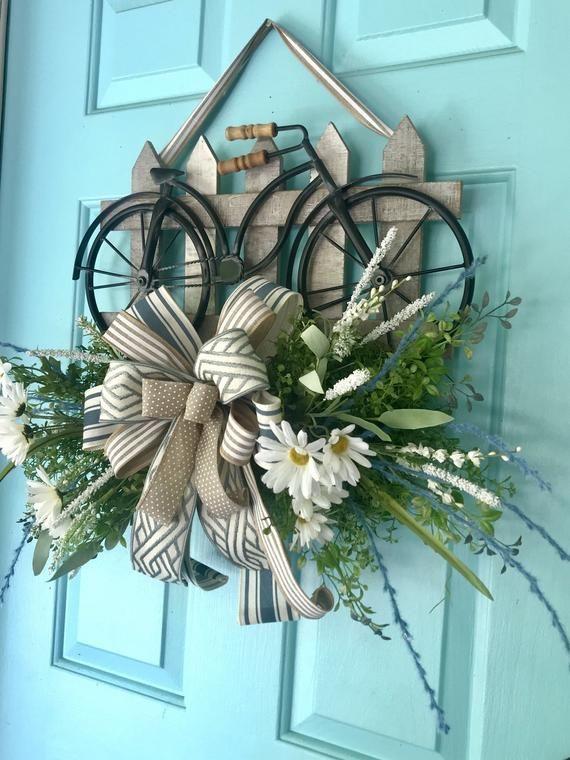 Photo of Door Hanger, Everyday Wreath, Farmhouse Wreath, Bicycle Door Hanger, Bike Hanger, Farmhouse Wreath, Picket Fence, Year Around Wreath