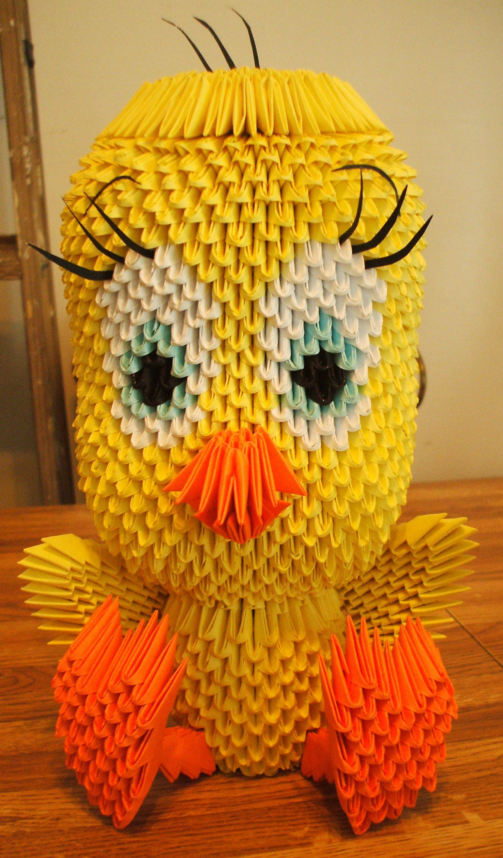 3D Origami Tweety that my daughter made for my sister for ... - photo#26