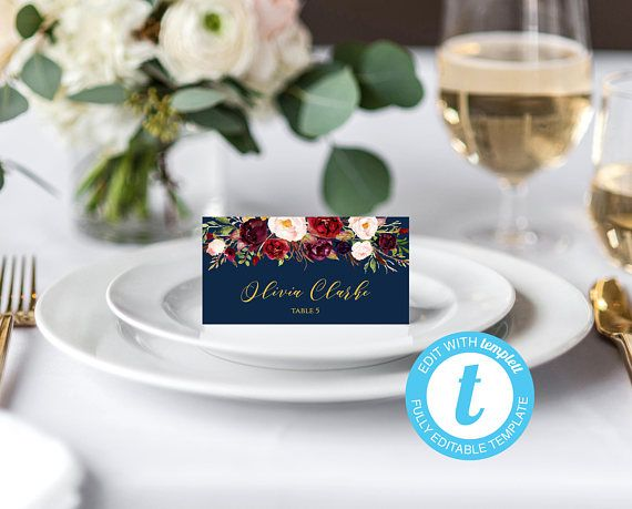 Wedding Place Card Template Navy And Burgundy Template DIY Place - Reserved place card template