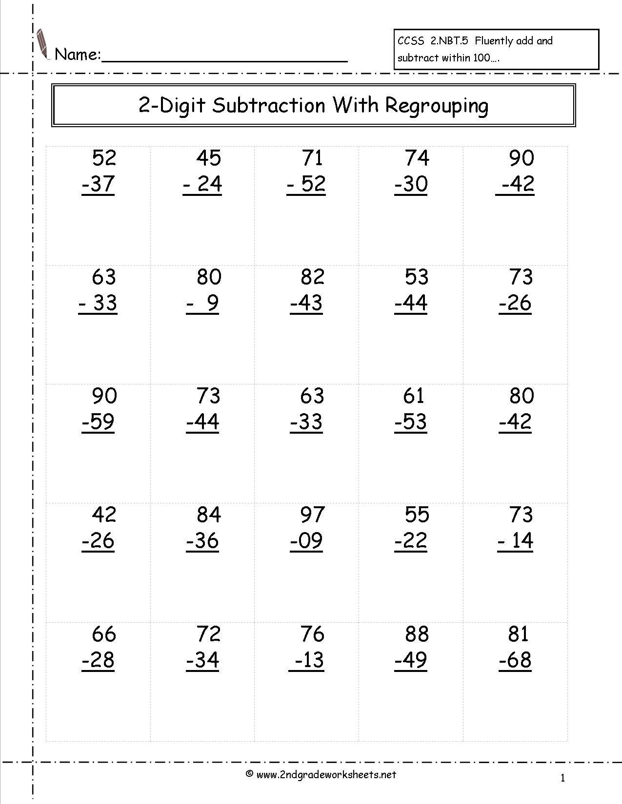 Math Worksheet 2nd Grade Free Math Worksheets And