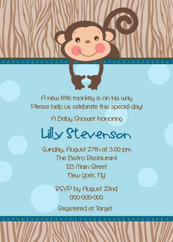 Baby Shower Invitation - Cute Monkey for boy- DIY Printable - blue ...