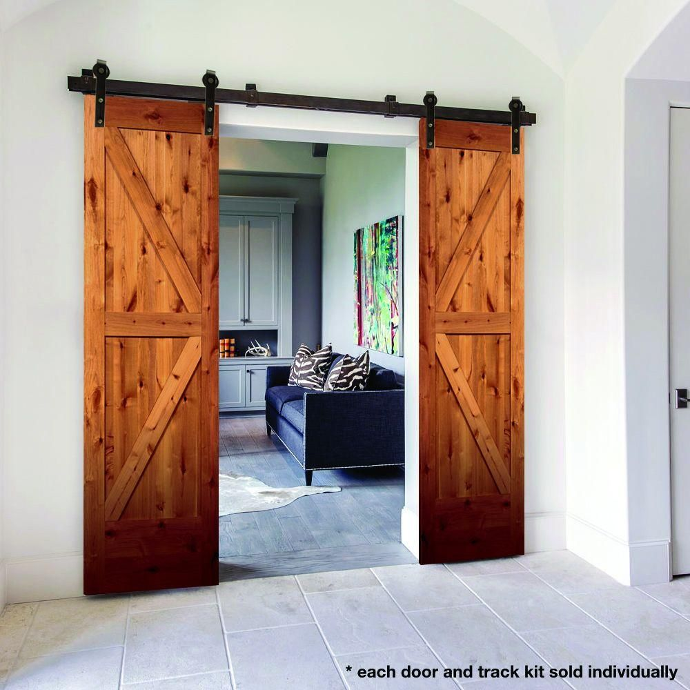Steves Sons 24 In X 80 In 2 Panel Solid Core Unfinished Knotty Alder Interior Barn Door Slab J64jknnnac99 The Home Depot Wood Barn Door Barn Doors Sliding Doors Interior