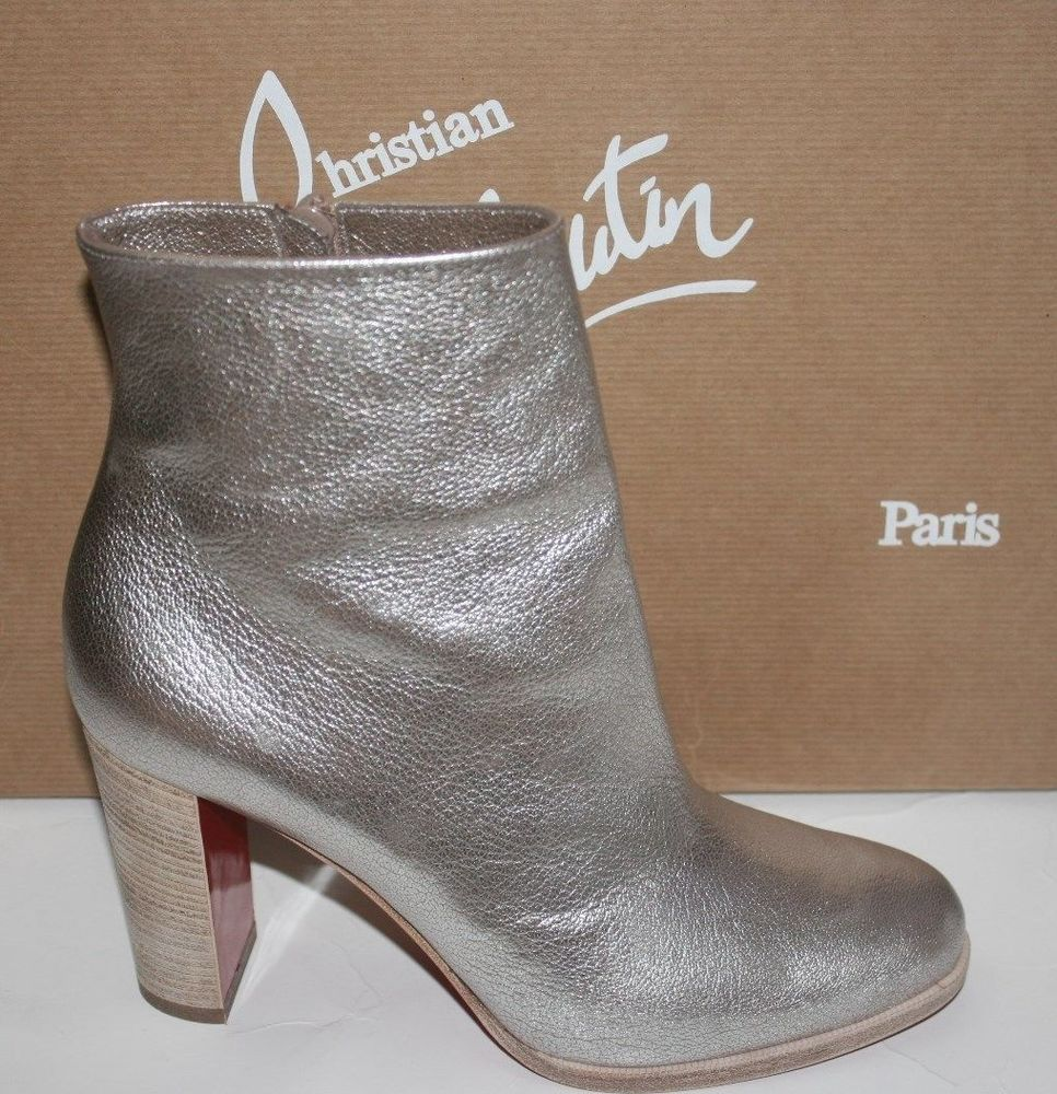 448a0135ac46  995 NIB CHRISTIAN LOUBOUTIN ADOX SILVER LEATHER BOOTIES SIZES 35.5 36 36 5
