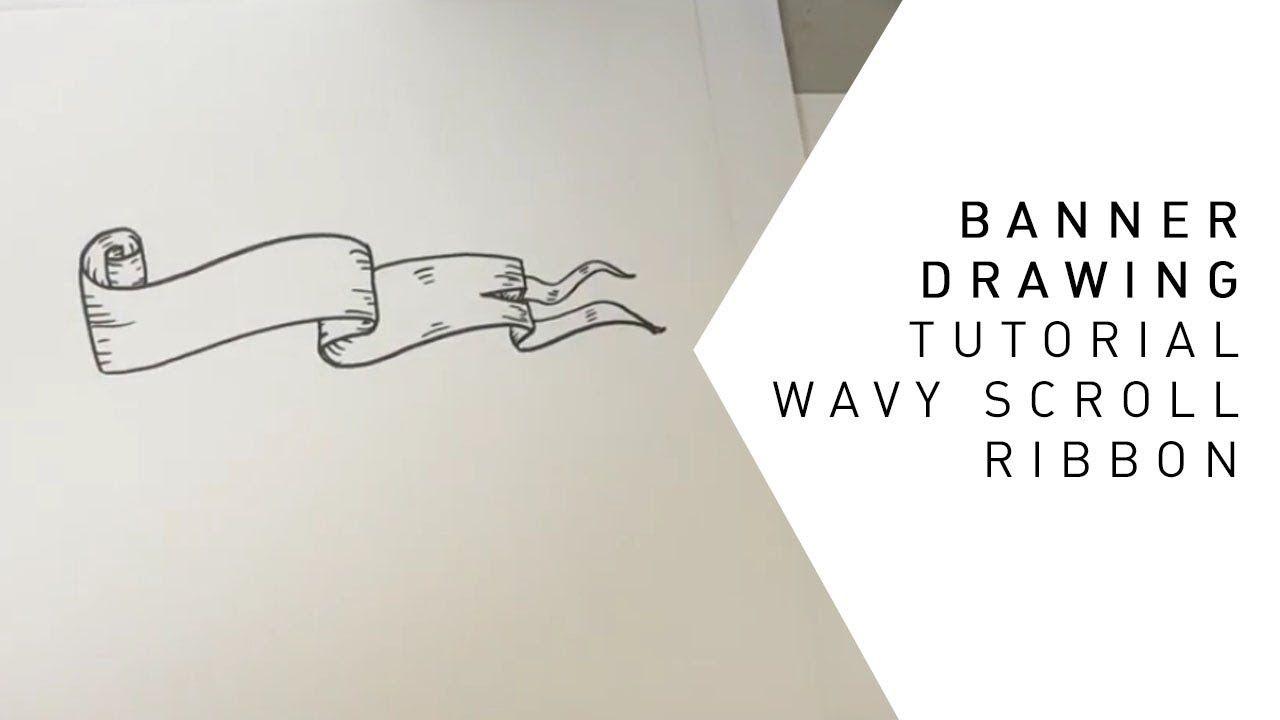 Banner Drawing Tutorial Wavy Scroll Ribbon Banner Drawing Drawing Tutorial Tutorial