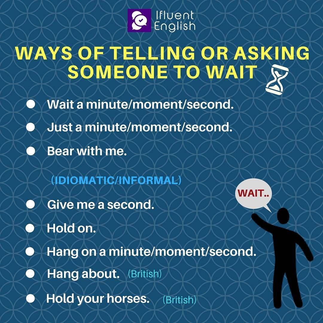 Ways of telling or asking someone to wait | Teaching ...