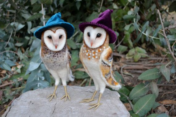 Needle felted barn owl with hat by Harthicune on Etsy