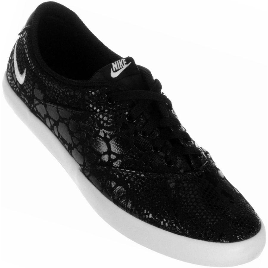 2012be57d Tênis Nike Mini Sneaker Lace Print Casual Feminino Preto