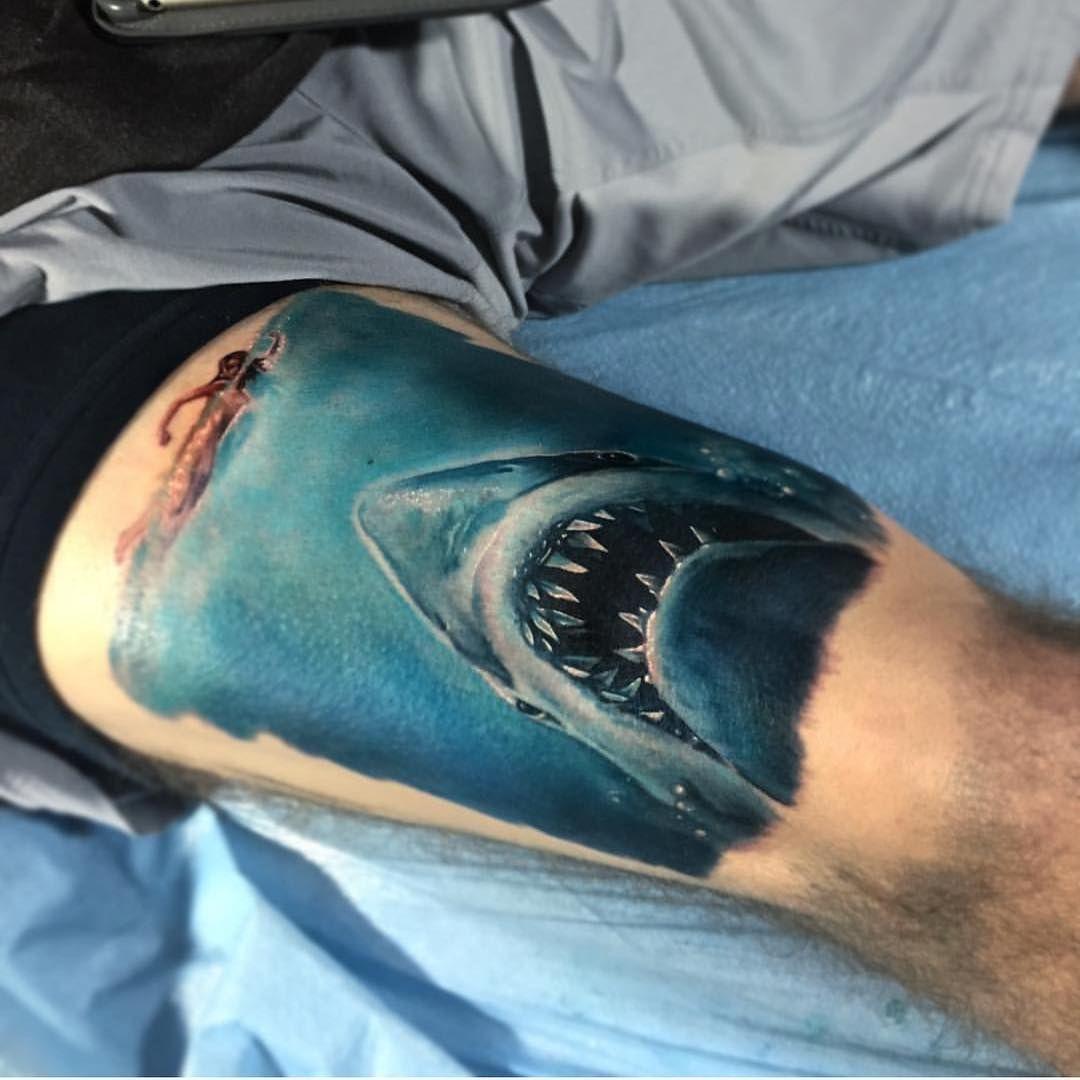 "Instagram Jaw Tattoos: ""#jaws By @paulackertattoo #inkedmag #inkedshop #tattoo"
