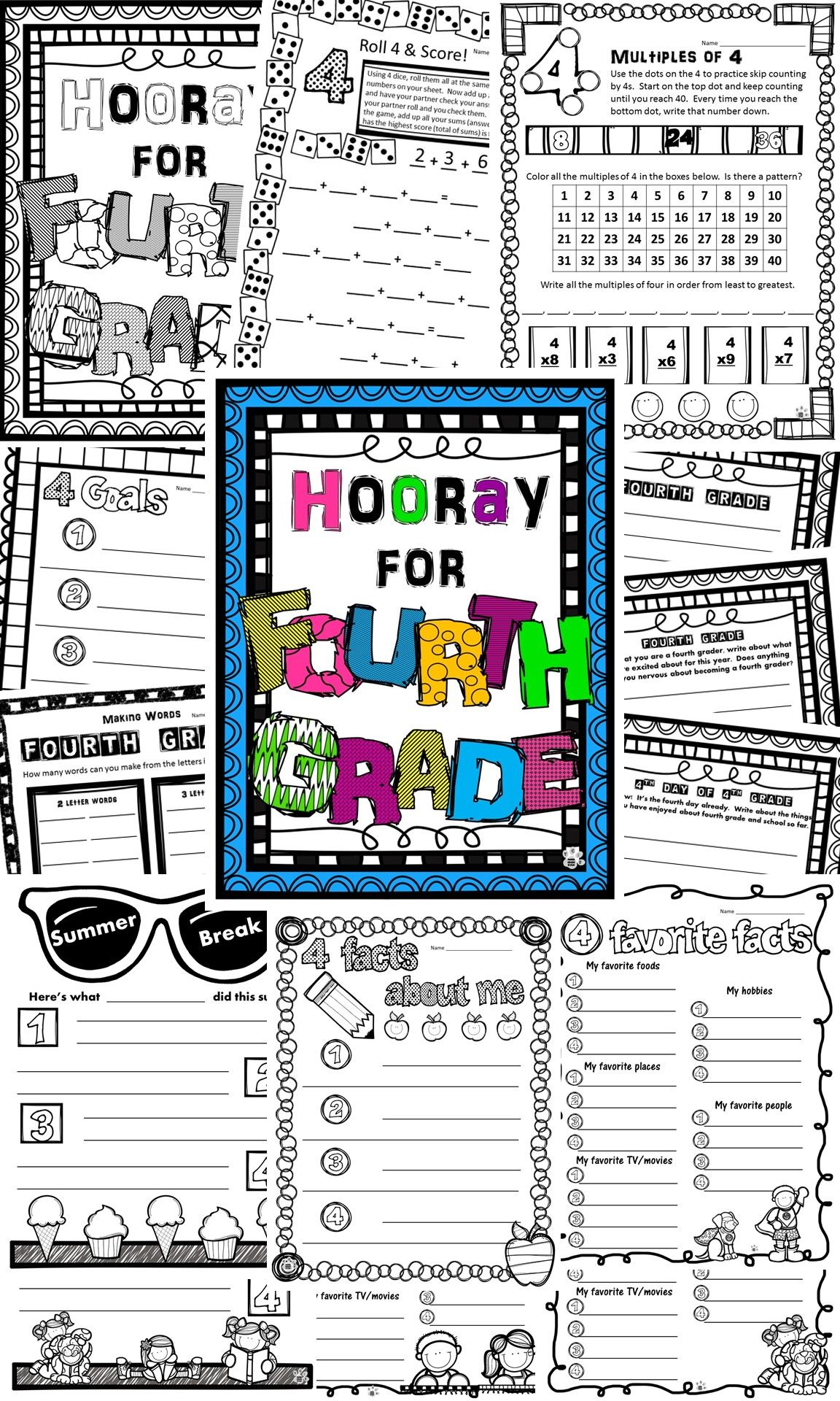 This was a huge help the first week of school! Activities for my kids to  complete and d…   4th grade activities [ 1920 x 1152 Pixel ]