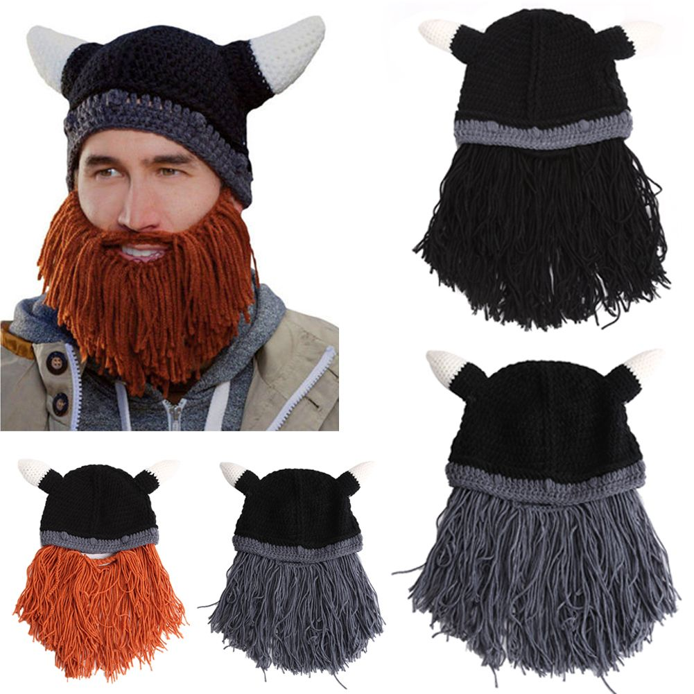 fa2219f4d8b Click to Buy    Men Beard Mustache Hat Barbarian Looter Knit Crochet Beanie