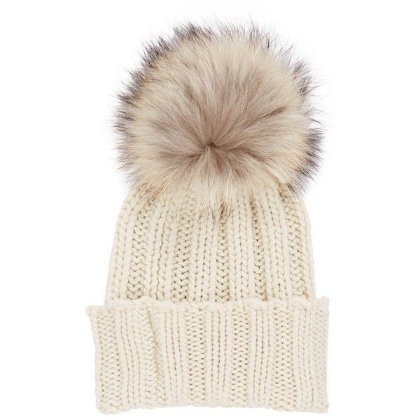 7102053802a ... White Cashmere Bobble Hat (135 BAM) ❤ liked on Polyvore featuring  accessories