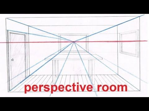 Linear Perspective Drawing Lesson 5/6 - Drawing a Room In Perspective Tutorial - 1 Point Perspective