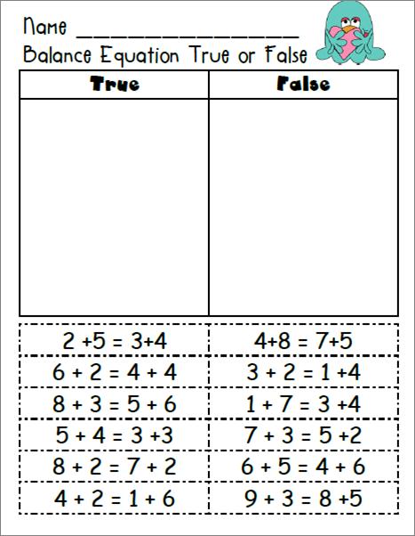 Balancing Math Equations Worksheet & solving addition equations ...