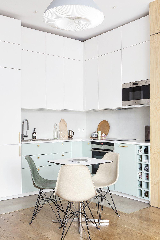 cuisine ouverte vert d 39 eau espace cuisine small. Black Bedroom Furniture Sets. Home Design Ideas