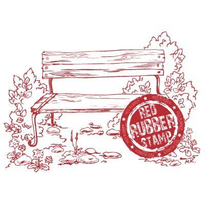 Park Bench Unmounted Red Rubber Stamp