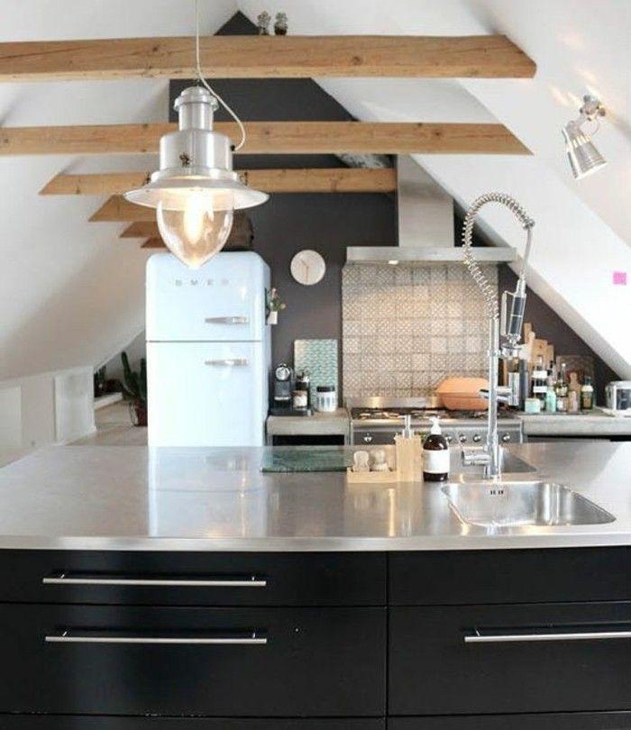 Dachgeschosswohnung kücheneinrichtung mansarde dachschräge deko ideen küche20 · attic apartmentattic ideasscandinavian interiorkitchen decor49erbeach