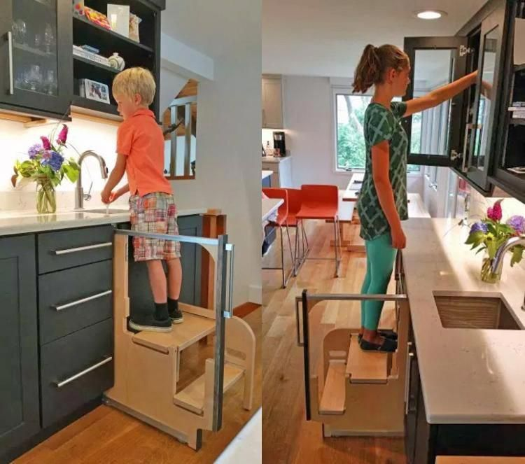 Hideaway Solutions: Folding Step Stool Pulls Out From
